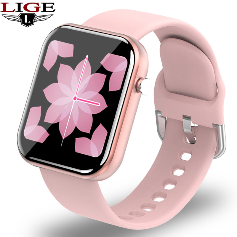 LIGE Women Smart Watch Full Touch <font><b>Big</b></font> <font><b>Screen</b></font> Heart Rate Blood Pressure Monitor Waterproof <font><b>SmartWatch</b></font> Men Women for Android IOS image