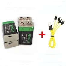 Bateria recarregável 6f22 do lítio-íon de usb de shseja 1180 mah 9 v dos pces 2/4 com cabo micro usb para o carregamento rápido
