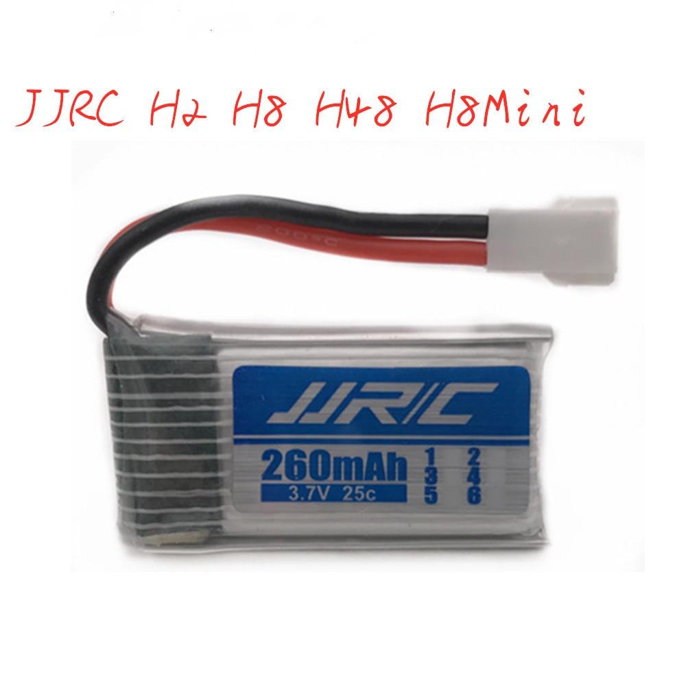 3.7v 260mAh Lipo Battery For JJRC H8 H8mini H2 H20 H36 H48 E010 E010C E011 E012 E013 F36 U839 S8 M67 RC Drone Parts 1pcs