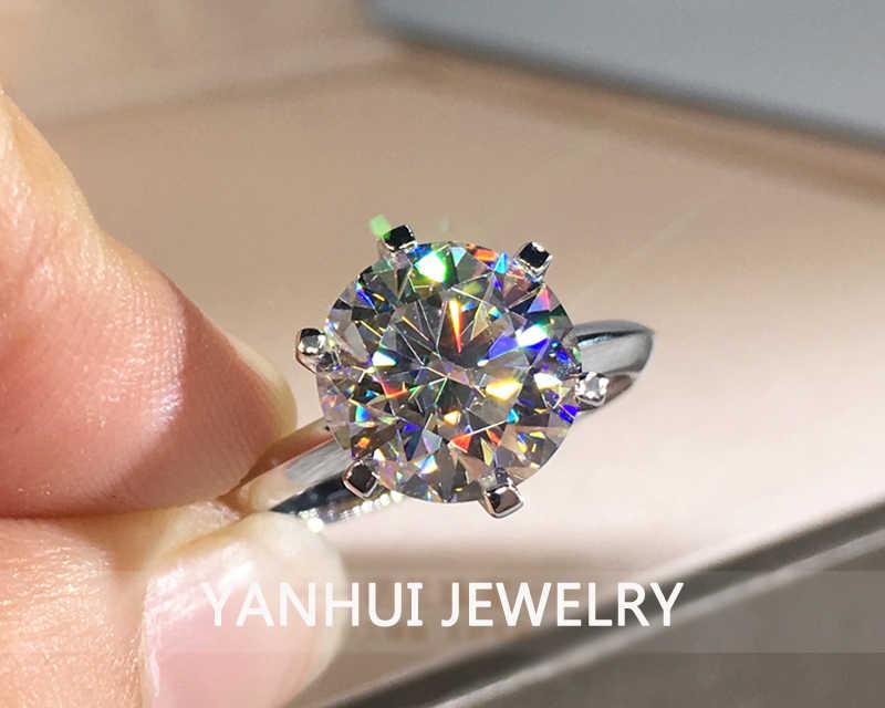 Mit Zertifikat Luxus Solitaire 2,0 ct Zirkonia Diamant Hochzeit Ring Original 18K Weiß Gold Pt Silber 925 Ring Frauen geschenk R168