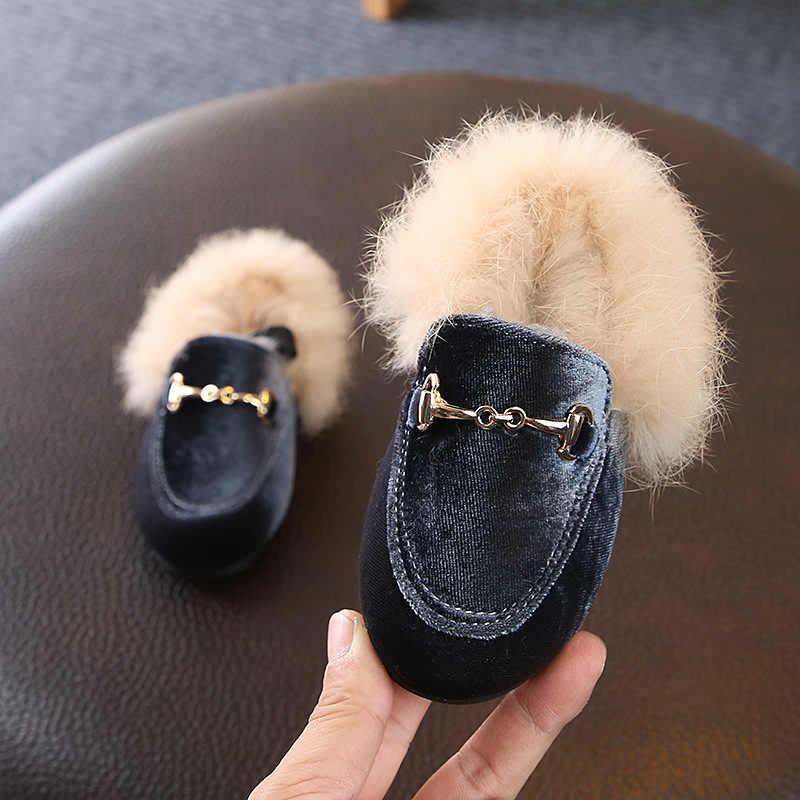 Baru Musim Dingin Anak-anak Bulu Sepatu Bayi Gadis Hangat Flats Anak Pu Kulit Putri Sepatu Balita Merek Hitam Sepatu Fashion Sepatu Sandal