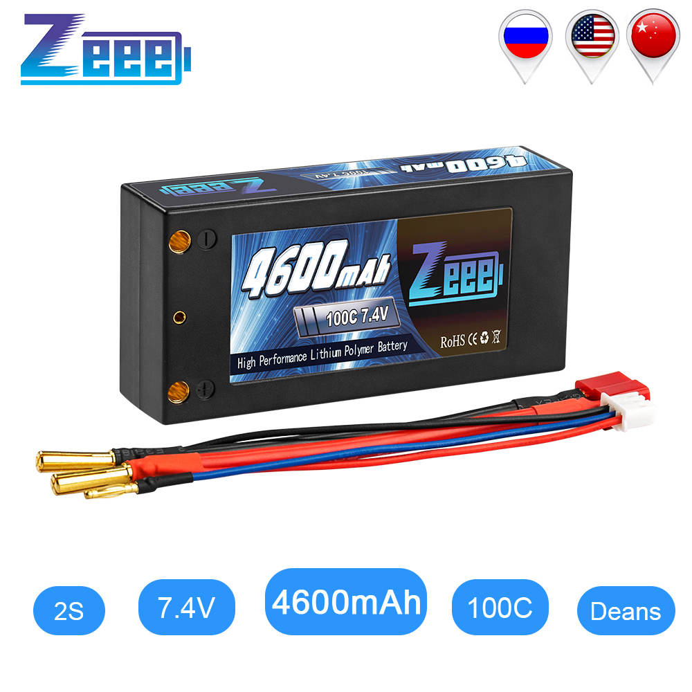 Zeee 2S Shorty Lipo 7.4V 4600mAh 100C Battery RC Lipo Battery With 4mm Bullet Deans Ultra Plug Connector For Car Truck Boat