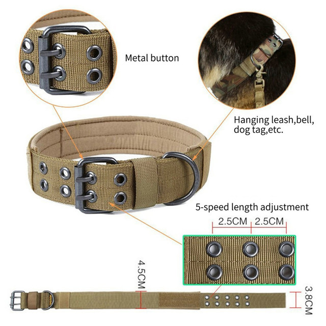 Military Adjustable Dog Collar with Metal Buckle