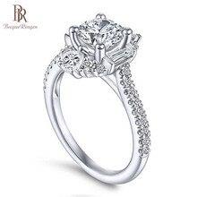 Bague Ringen คลาสสิก 100% เงินแท้ 925 แหวน 6 มม.รอบรูปร่าง Zircon แหวนงานแต่งงานแหวนหมั้นเครื่องประดับขนาด 6  10 ขายส่ง