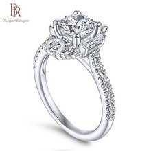 "Bague Ringen קלאסי 100% כסף אמיתי 925 טבעת עם 6 מ""מ עגול צורת זירקון טבעת חתונות אירוסין Jewerly גודל 6  10 סיטונאי"