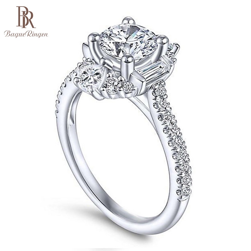 Bague Ringen Classic 100% Real Silver 925 Ring With 6mm Round Shape Zircon Ring Weddings Engagement Jewerly Size 6-10 Wholesale