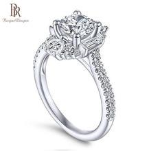 Bague ringen clássico 100% real prata 925 anel com 6mm forma redonda zircão anel casamento noivado jewerly tamanho 6 10 atacado