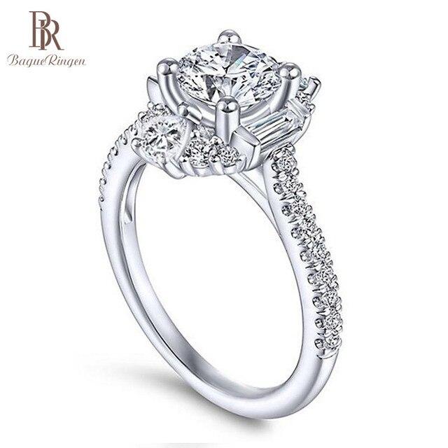 バゲ Ringen クラシック 100% 本物のシルバー 925 リングと 6 ミリメートルラウンド形状ジルコンリング結婚式婚約 Jewerly サイズ 6  10 卸売
