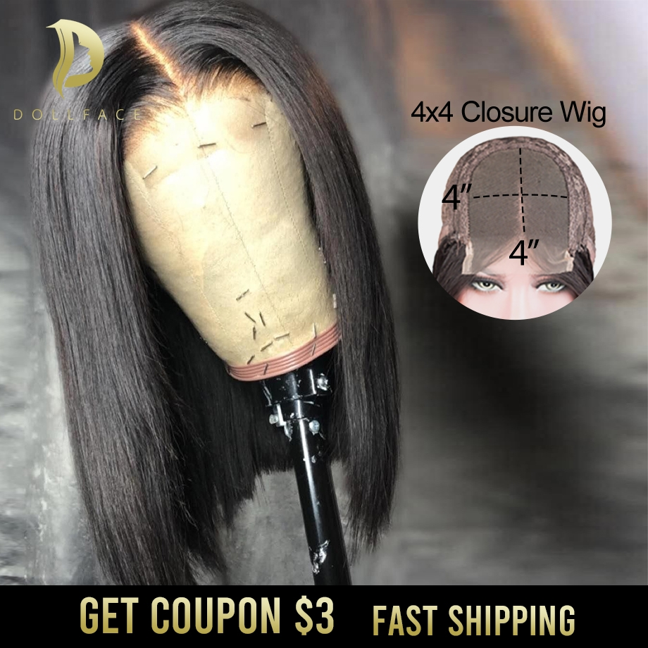 Short Bob Lace Front Human Hair Wigs For Black Women Straight Bob Closure Wig Hd Lace Closure Brazilian Hair Black Wig 4x4 Remy
