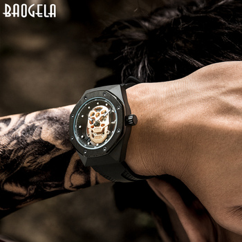 BAOGELA Skeleton Watches Men Luxury Top Brand Waterproof Wristwatch Skull Dial Military Sports Watch Man Relogios Masculino 1902 boyzhe luxury brand mechanical watches 3d dial multifunction sports watch full stainless steel man watch waterproof wristwatch