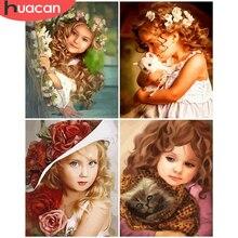 HUACAN – Kits de peinture par nombres de fille, dessin sur toile, tableau avec chiffres, peintures peintes à la main, cadeau d'art, décoration de maison, DIY bricolage