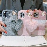 Funda de teléfono con colgante de amor de lujo, para iPhone 12 Pro Max 13 11 X XS XR 8 7 6 6S Plus SE 2020 5S 5C, cubierta de piel de felpa cálida para invierno