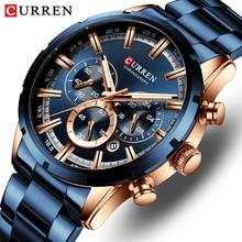 CURREN Relógio de pulso esportivo de luxo de quartzo para homens, a prova dágua, cronógrafo, todo de aço, masculino