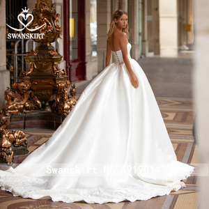 Image 3 - Swanskirtでエレガントな2 1ジャケットのウェディングドレス2020アップリケサテンaライン王女カスタマイズされた花嫁衣装vestidoデ · ノビアI326