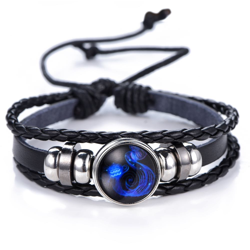 12 Constellation Luminous Bracelet men Leather Bracelet Charms Bracelets Aries Pisces Aquarius Leo Scorpio Libra Gemini jewelry 4