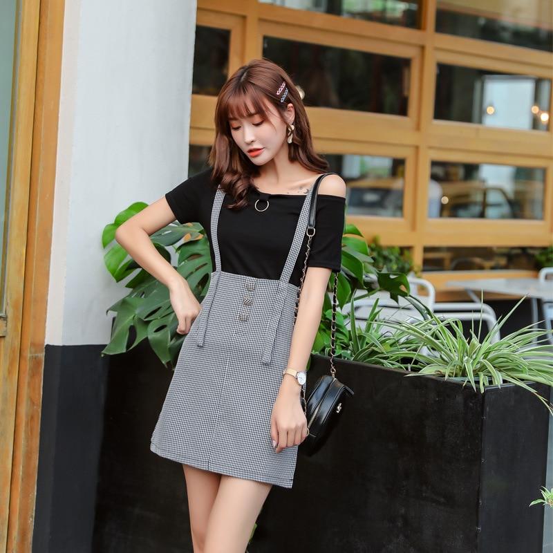 Korean-style Online Celebrity Two-Piece Set College Style Plaid Suspender Skirt WOMEN'S Suit