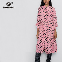 ROHOPO Tie Bow Collar Long Sleeve Black Polk Dot Pink Midi Dress Ruffled Pleated Maxi Multiways Autumn Vestido #2303