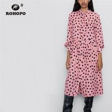 ROHOPO Tie Bow Collar Long Sleeve Black Polk Dot Pink Midi Dress Ruffled Pleated Maxi Multiways Autumn Vestido #2303