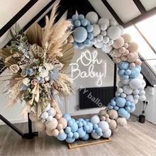 Balões garland arco kit macaron azul cinza chuveiro do bebê retro pele globos festa de aniversário do casamento decoração