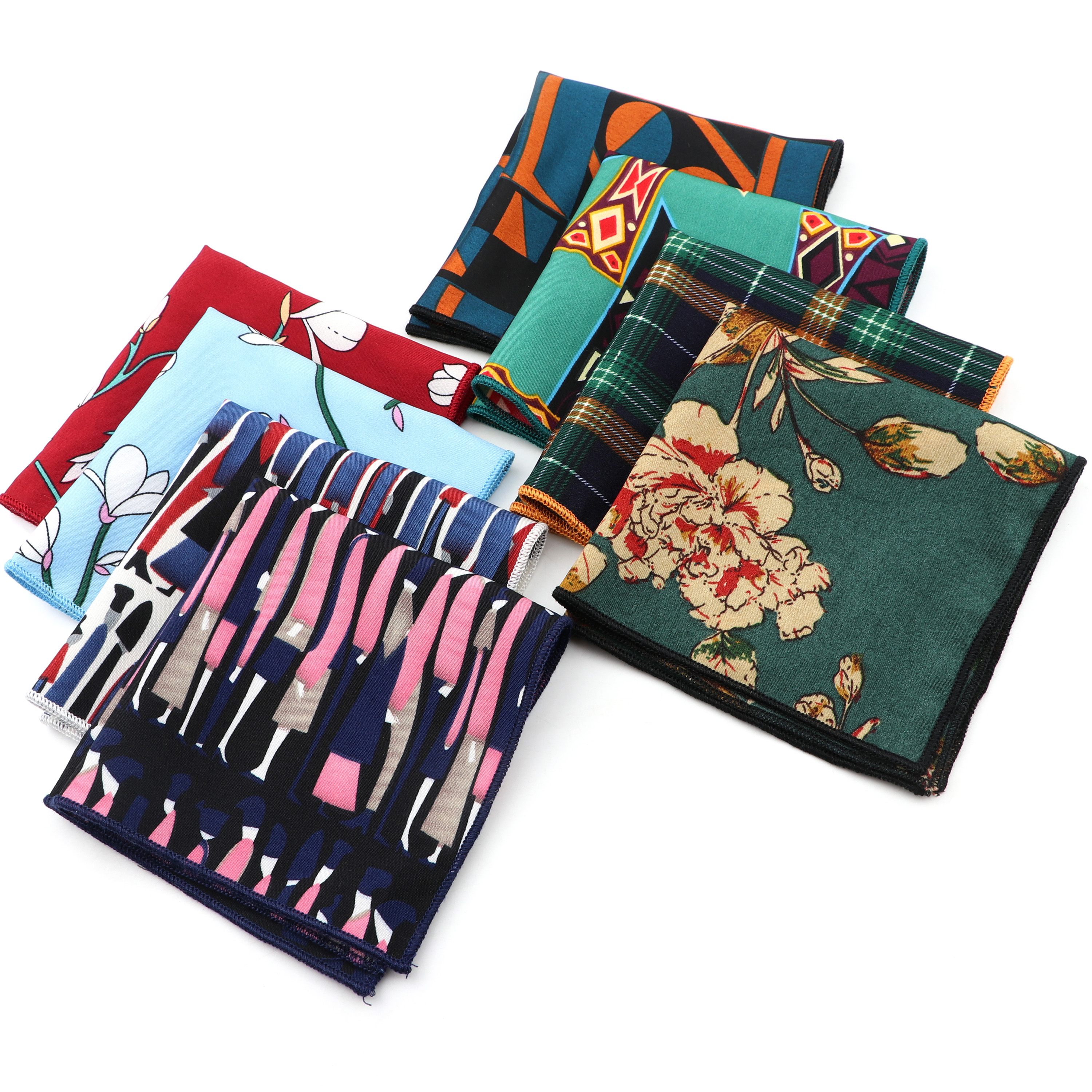 Smooth Soft Handkerchief Scarves Vintage Geometric Floral Paisley Striped  Banquet Pocket Square Kids Hankies Accessory Gift
