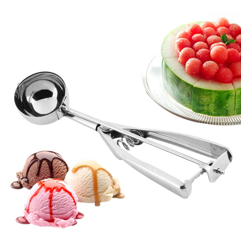 NEW Stainless Steel Ice Cream Scoop Ice Cream Spoon Fruit Scoop Melon Baller Cookie Scoop Melon Scoop with Trigger Release