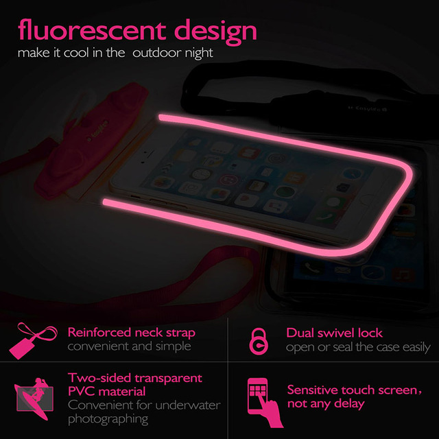 Waterproof Phone Pouch Drift Diving Swimming Bag Underwater Dry Bag Case Cover For Phone Water Sports Beach Pool Skiing 6 inch 4