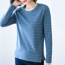 Women Cotton Loose T-shirt Long Sleeve O-Neck Stripe 2020 Casual T-shirt Women Fashion Clothes large Size M-4XL sexy hollow high neck stripe pattern t shirt