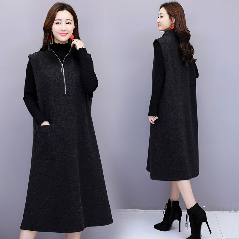 Woolen Dress 2019 WOMEN'S Dress Winter New Style Dress Outfit Mid-length Two-Piece Set Slim Fit Elegant Base Fashion