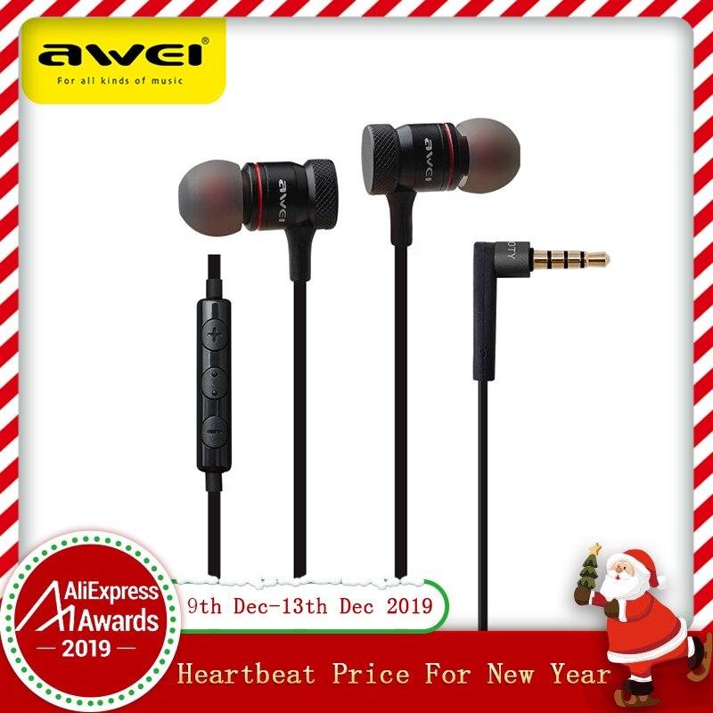 Awei ES-70TY écouteurs intra-auriculaires métal casque avec micro stéréo filaire casque basses profondes son Fone De Ouvido Auriculares Audifonos