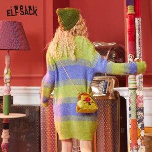 Image 3 - Женское прямое платье ELFSACK, розовое повседневное Свободное платье в зеленую полоску с длинным рукавом, офисное платье, зима 2020