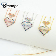 Wholesale Copper Micro Pave CZ Hearts Shape Charm Bracelet In 3Colors Top Quality Plating of 5Pcs,B0032