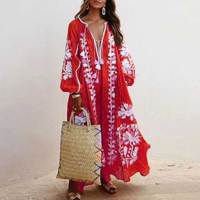 Loose Fit Long Sleeve Flower Dress Tassel V Neck Beach Sundress Fashion Lace-up Tassel Casual Long Dress Women Autumn Dresses 5