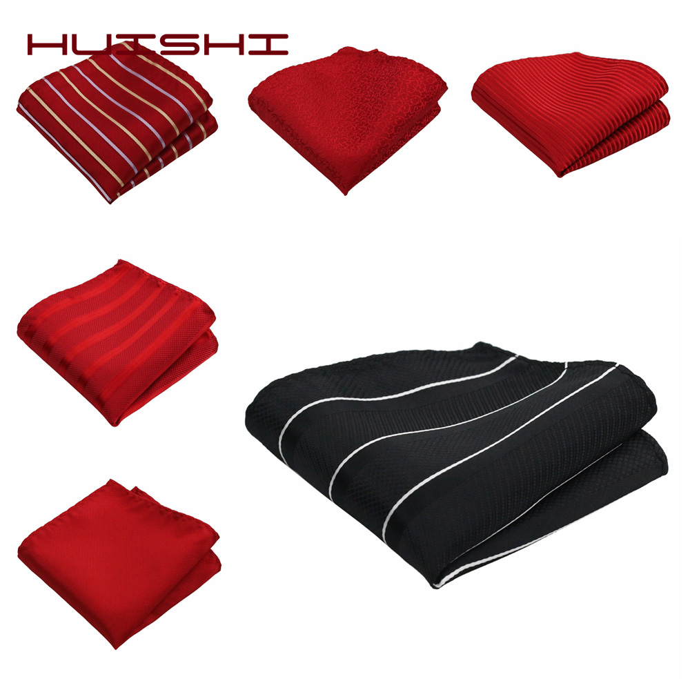 HUISHI Stripe Dot Polyester Pocket Squares For Men Necktie Matching Handkerchief Red Black Polka Dot For Wedding Business Gift