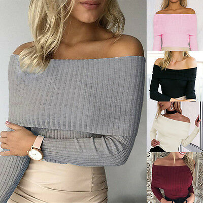 Fashion Womens Stylish Solid Color Sexy One Collar Off Shoulder Casual Bardot Tops Knitted Ribbed Sweater Jumper Blouses Tops