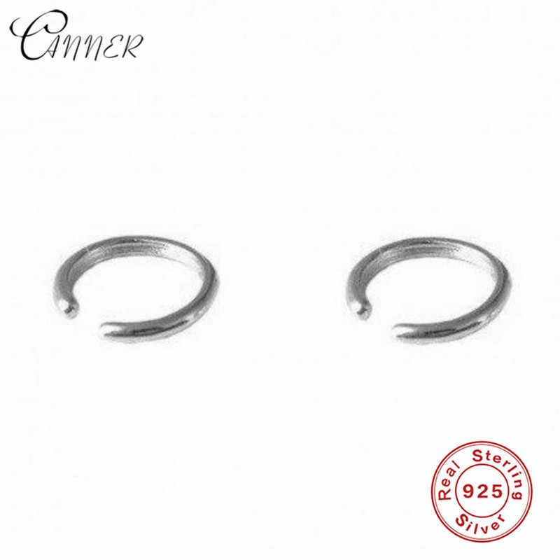 CANNER Simple moda pequeña oreja Clip en pendientes para mujeres joyería coreana auricular no perforado 925 pendientes de plata de ley