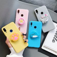 3D silicone cartoon phone holder case for Xiaomi Redmi 5 Plus 5A 6 6A Y3 Y2 Note 4 4X 5 6 7 Pro 5A cute stand cover(China)
