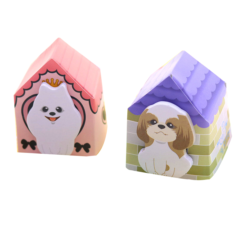New Year's Office Supplies Mixed Color 4pcs Puppy Villa-shaped Sticky Notes Cute Stationery Stickers Creative Notes Memo Pad