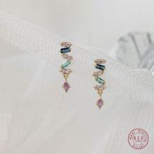925 de plata esterlina Simple pendiente con forma de serpiente pendientes mujer Pavé pendientes de borla de cristal boda temperamento joyería de Amistad de regalo