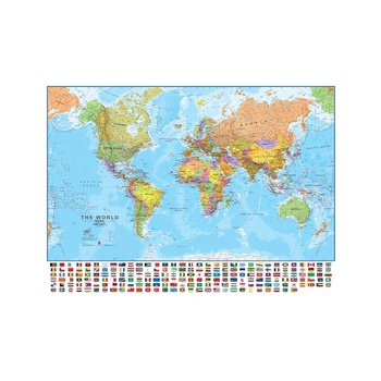 90*60cm World Map Painting Canvas Map of The World Wall with National Flags Posters and Prints for School Office Home Supplies flags of the world