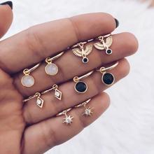 Золотые серьги-кольца, маленькие серьги-кольца для женщин, черные толстые серьги-кольца, ювелирные изделия, бесконечные серьги в виде звезды и Луны, подарок для женщин