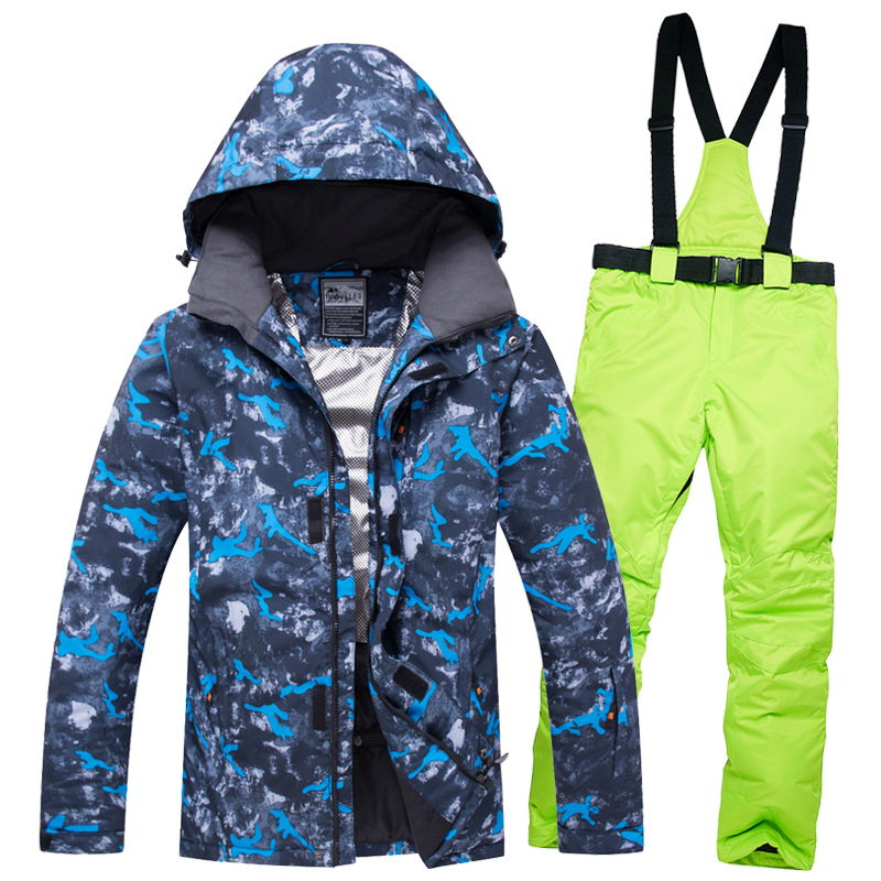 2019 Ski costumes pour hommes à capuche chaud vestes salopette mâle Ski ensembles imperméable snowboard Sport neige vêtements vêtements de plein air