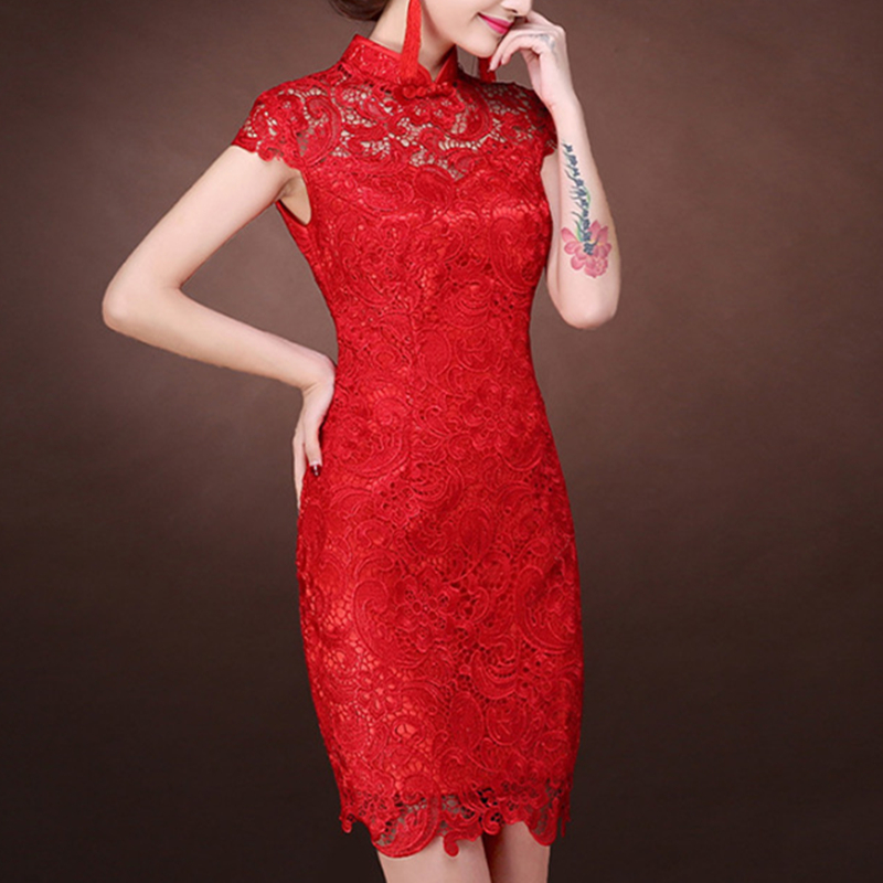 Image 2 - Women Dress Elegant Women Weeding Party Dresses Chinese Evening Sexy Dress Bodycon Lace Dresses Plus Size Vestidos Verano 2019-in Dresses from Women's Clothing