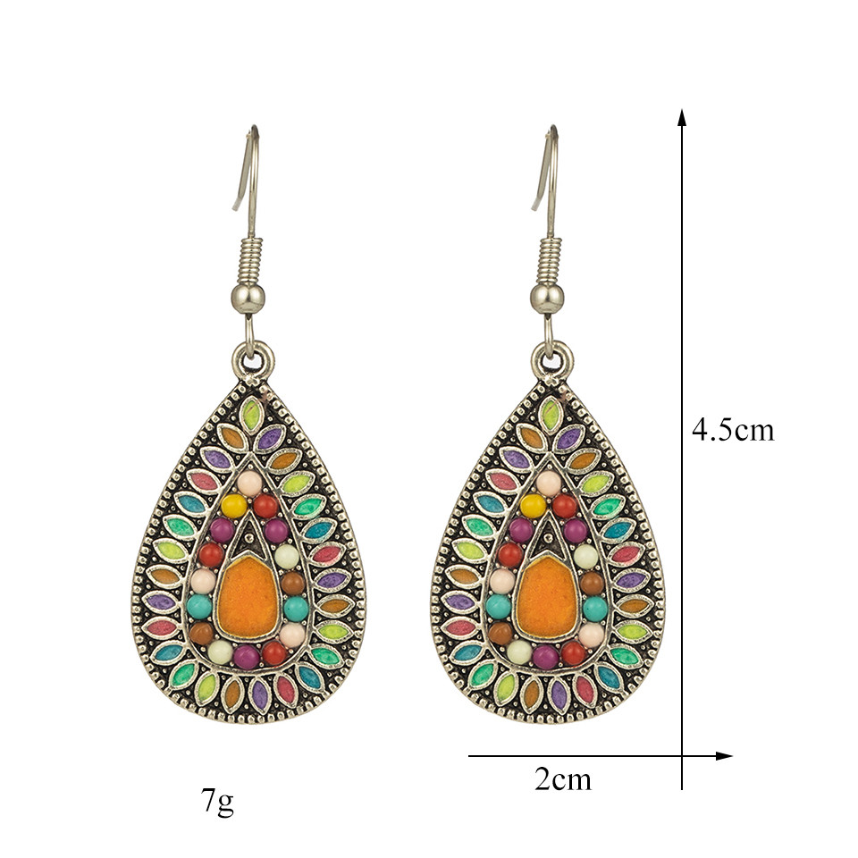Ethnic Big Long Water Drop Earrings for Women Bohemian Vintage Metal Colorful Flowers Wedding Statement Earring Indian Jewelry (59)