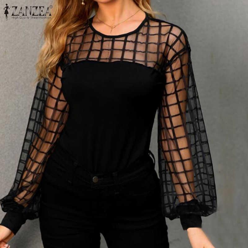 2020 봄 긴 퍼프 슬리브 셔츠 ZANZEA 섹시한 쉬어 블랙 블라우스 패션 여성 메쉬 패치 워크 파티 블라우스 튜닉 탑스 여성