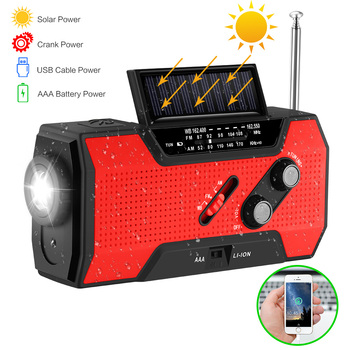 for NOAA Weather Radio Emergency Solar Hand Crank 2000 MAh Phone Charger Power Bank Multi-Purpose Radio Flashlight Reading Lamp