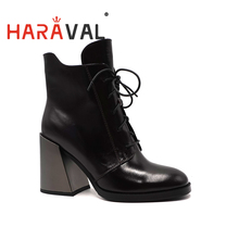 HARAVAL Spring Autumn Ankle Boots Shoes Thick Heels Black Hi