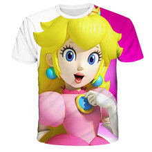 2021 Summer Boys And Girls Tshirt New Japanese Game Mario 3D Printed T-shirt Mixed Material Children's Breathable Clothes 4T-14T