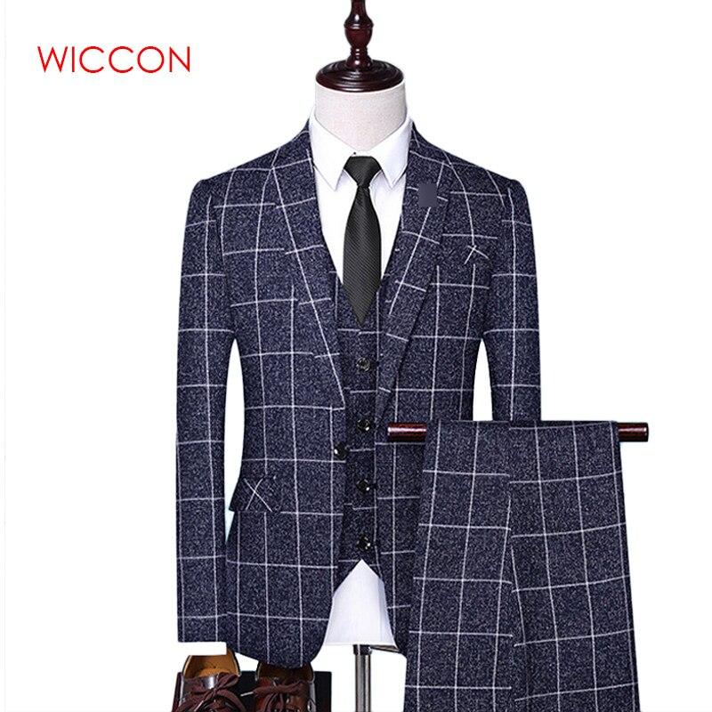 Jackets + Vest + Pants 2020 Men's Groom Wedding Dress Plaid Formal Suits Set Men Fashion Casual Business Suit Three-piece