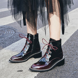 Image 4 - FEDONAS Women Genuine Cow Patent Leather Ankle Boots Winter Short Boots for Women Big Size Riding Boots Night Club Shoes Woman