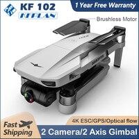 SJRC-Dron KF102 con GPS, 4K, 1080P, HD, 2 ejes, cardán profesional, 5G, WiFi, FPV, RC, sin escobillas, Quadcopter con cámara, Mini Dron plegable